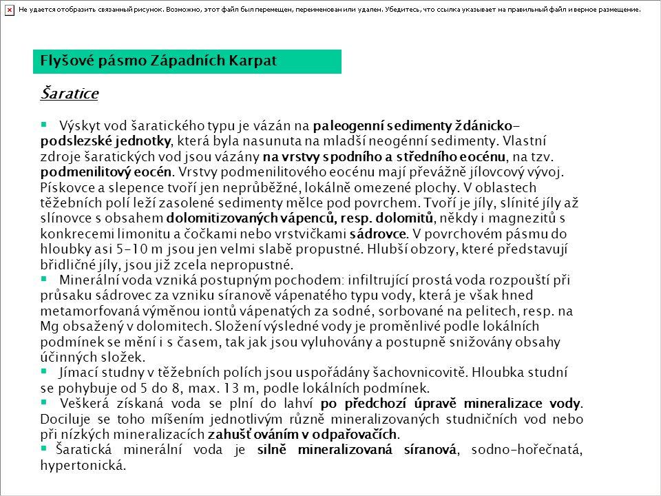 Flyšové pásmo Západních Karpat  Výskyt vod šaratického typu je vázán na paleogenní sedimenty ždánicko- podslezské jednotky, která byla nasunuta na ml