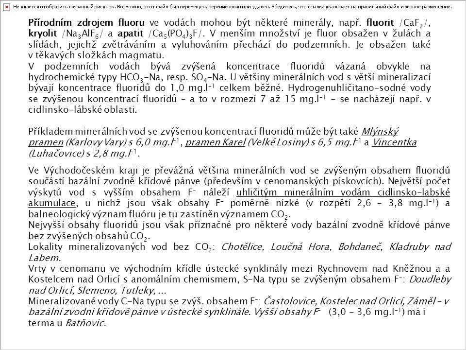 Přírodním zdrojem fluoru ve vodách mohou být některé minerály, např. fluorit /CaF 2 /, kryolit /Na 3 AlF 6 / a apatit /Ca 5 (PO 4 ) 3 F/. V menším mno
