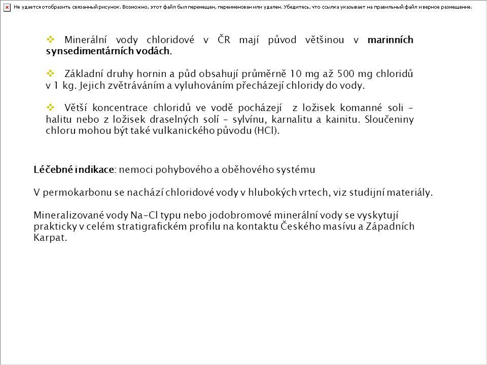  Minerální vody chloridové v ČR mají původ většinou v marinních synsedimentárních vodách.  Základní druhy hornin a půd obsahují průměrně 10 mg až 50