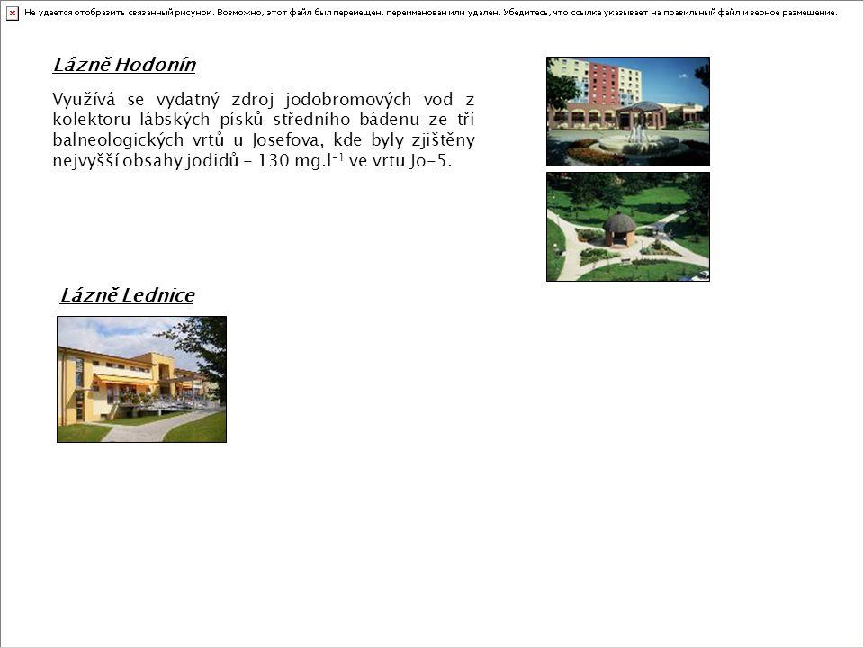Lázně Hodonín Využívá se vydatný zdroj jodobromových vod z kolektoru lábských písků středního bádenu ze tří balneologických vrtů u Josefova, kde byly