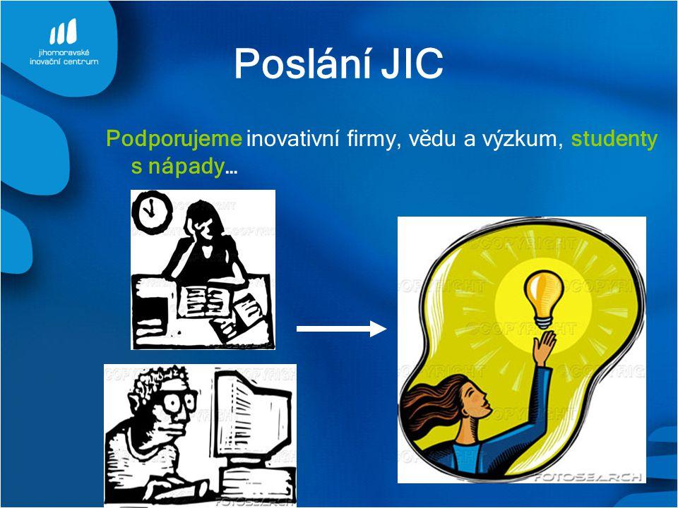 Poslání JIC Podporujeme inovativní firmy, vědu a výzkum, studenty s nápady…