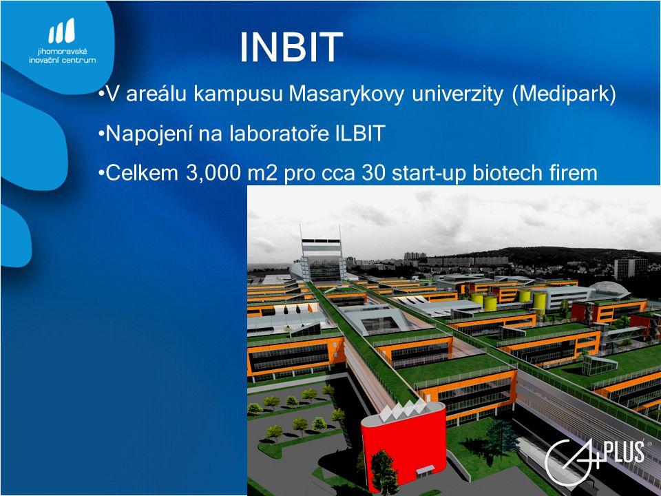 INBIT V areálu kampusu Masarykovy univerzity (Medipark) Napojení na laboratoře ILBIT Celkem 3,000 m2 pro cca 30 start-up biotech firem
