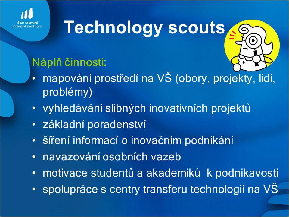 Technology scouts Náplň činnosti: mapování prostředí na VŠ (obory, projekty, lidi, problémy) vyhledávání slibných inovativních projektů základní porad
