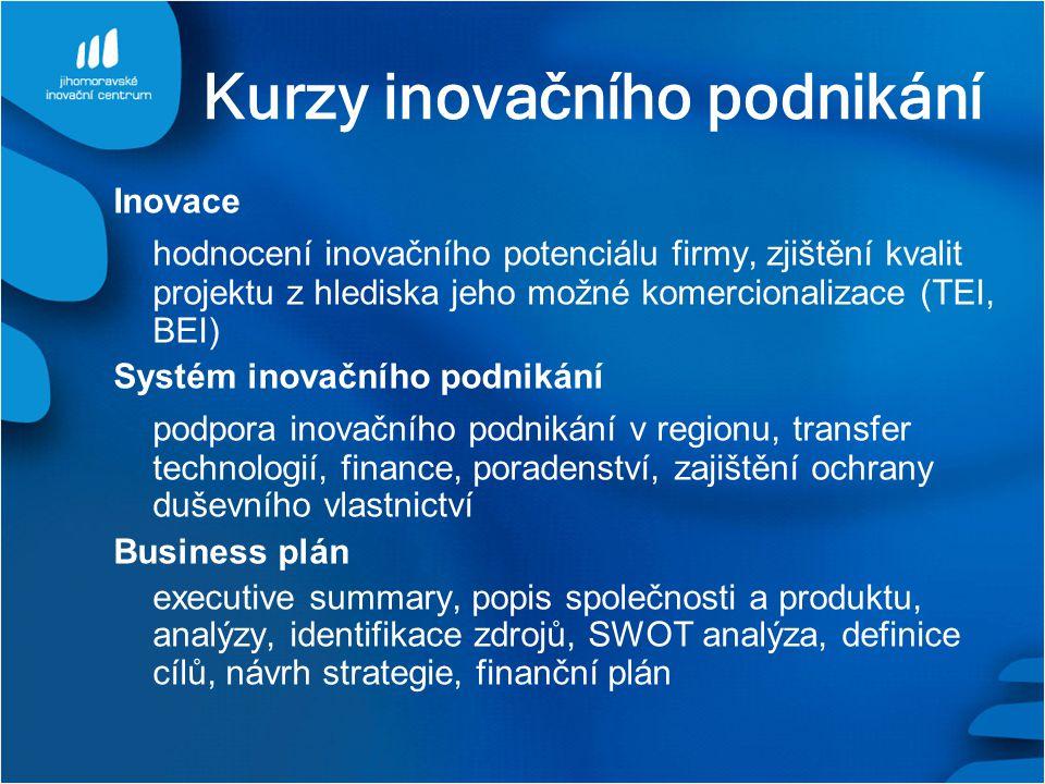Kurzy inovačního podnikání Inovace hodnocení inovačního potenciálu firmy, zjištění kvalit projektu z hlediska jeho možné komercionalizace (TEI, BEI) Systém inovačního podnikání podpora inovačního podnikání v regionu, transfer technologií, finance, poradenství, zajištění ochrany duševního vlastnictví Business plán executive summary, popis společnosti a produktu, analýzy, identifikace zdrojů, SWOT analýza, definice cílů, návrh strategie, finanční plán