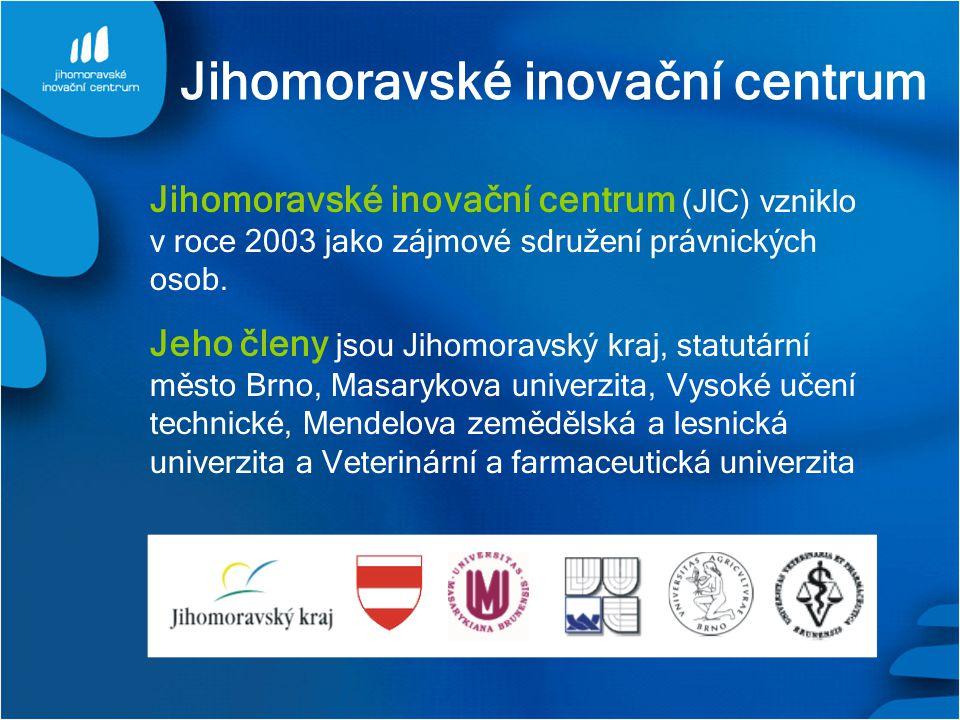 Jihomoravské inovační centrum Jihomoravské inovační centrum (JIC) vzniklo v roce 2003 jako zájmové sdružení právnických osob. Jeho členy jsou Jihomora