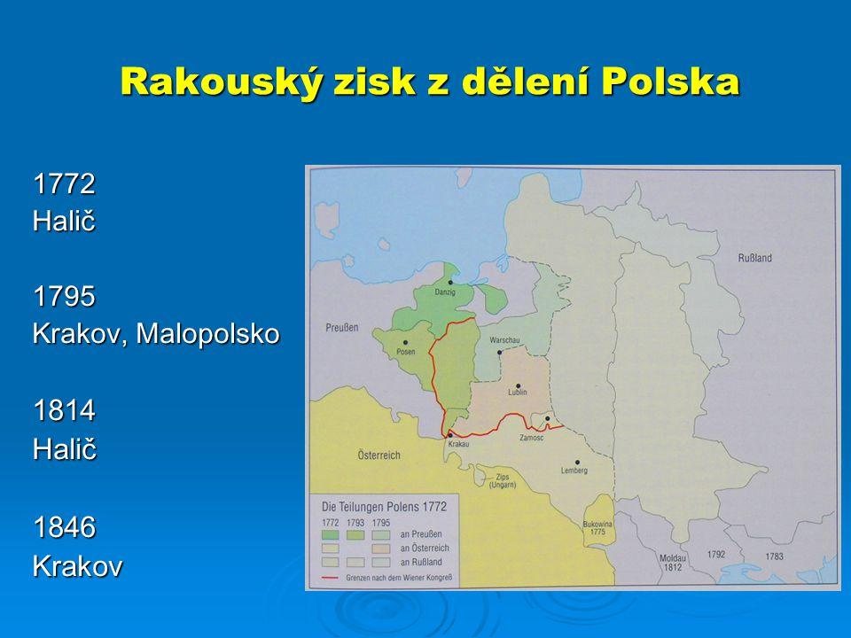 Rakouský zisk z dělení Polska 1772Halič1795 Krakov, Malopolsko 1814Halič1846Krakov