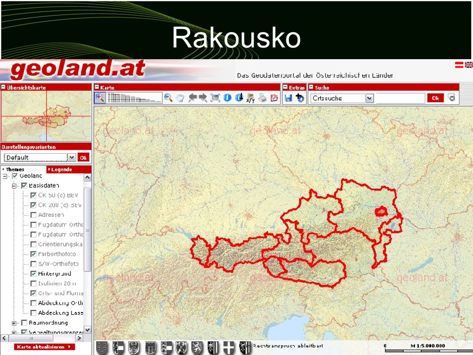 Rakousko lídr Evropské unie Vrcholný orgán geografických informací –sdružení všech uživatelů GIS v Rakousku –reprezentuje je navenek centrálně uložená data jednotná platforma volný přístup k datům