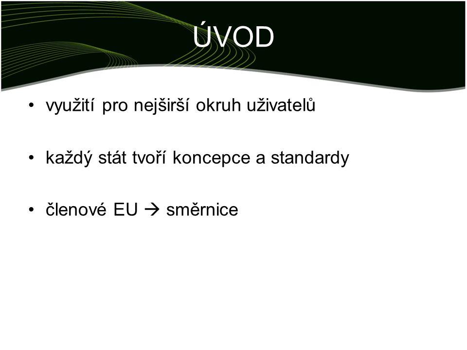 ÚVOD využití pro nejširší okruh uživatelů každý stát tvoří koncepce a standardy členové EU  směrnice