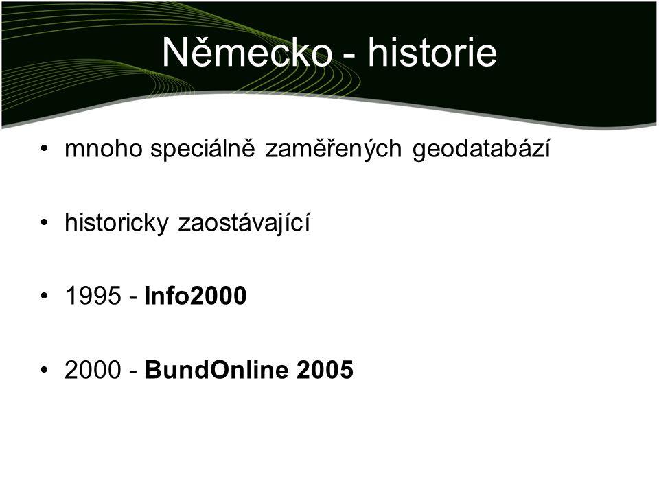Německo - historie mnoho speciálně zaměřených geodatabází historicky zaostávající 1995 - Info2000 2000 - BundOnline 2005
