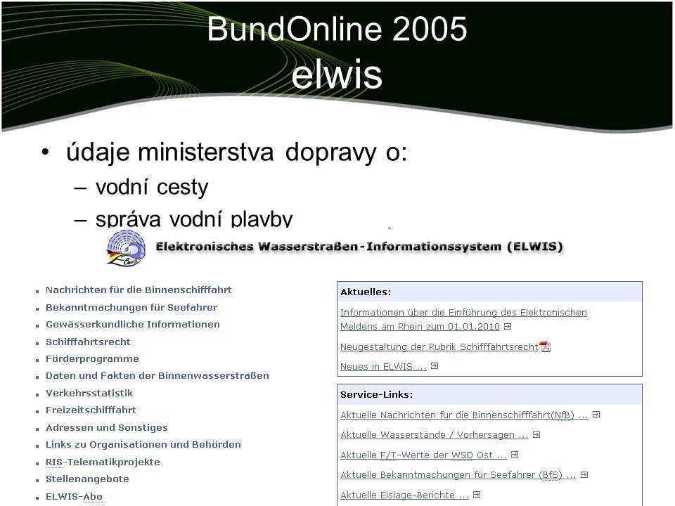 BundOnline 2005 elwis údaje ministerstva dopravy o: –vodní cesty –správa vodní plavby