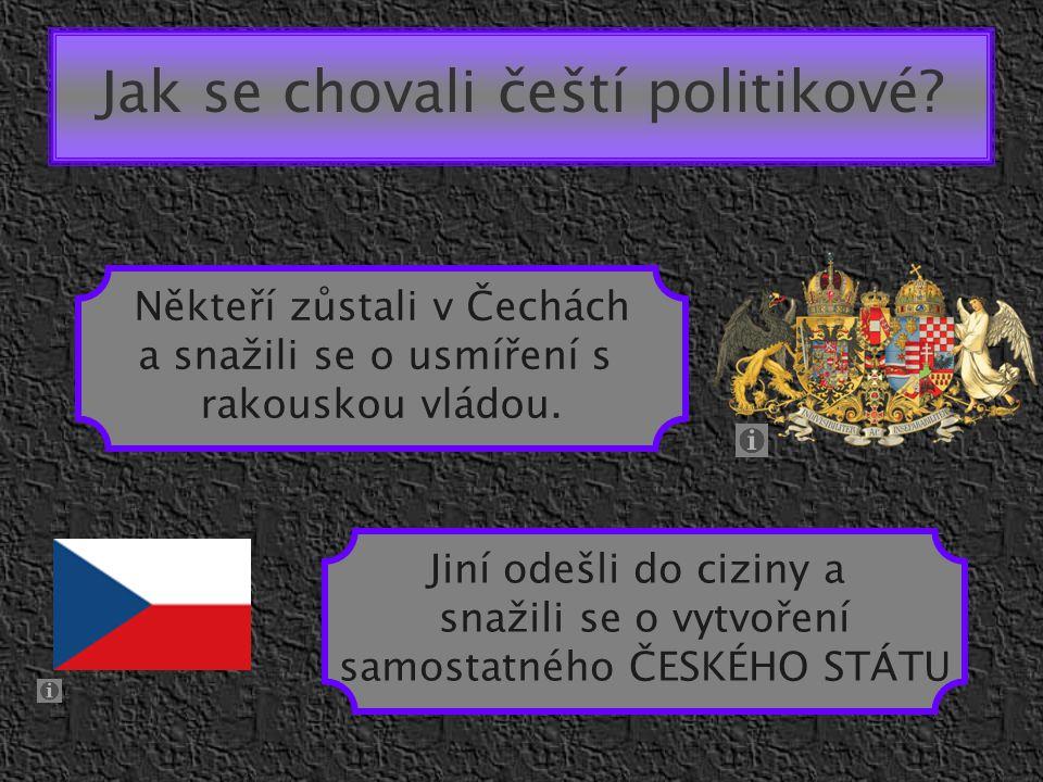 Jak se chovali čeští politikové? Někteří zůstali v Čechách a snažili se o usmíření s rakouskou vládou. Jiní odešli do ciziny a snažili se o vytvoření
