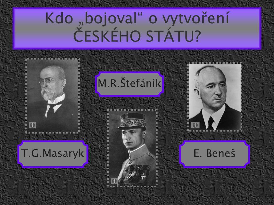 """Kdo """"bojoval"""" o vytvoření ČESKÉHO STÁTU? T.G.Masaryk M.R.Štefánik E. Beneš"""