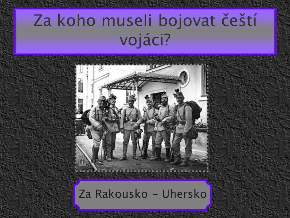 Za koho museli bojovat čeští vojáci? Za Rakousko - Uhersko