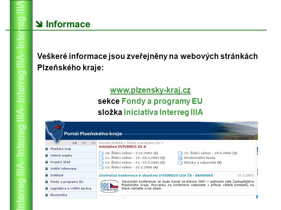  Informace Veškeré informace jsou zveřejněny na webových stránkách Plzeňského kraje: www.plzensky-kraj.cz sekce Fondy a programy EU složka Iniciativa Interreg IIIA