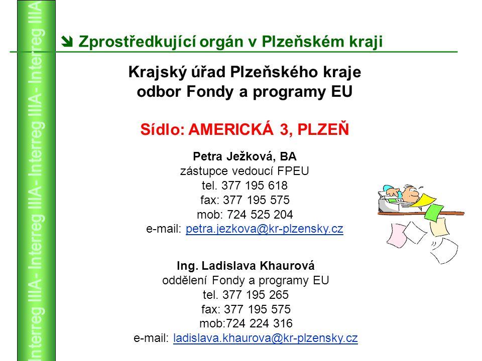  Zprostředkující orgán v Plzeňském kraji Ing. Ladislava Khaurová oddělení Fondy a programy EU tel.