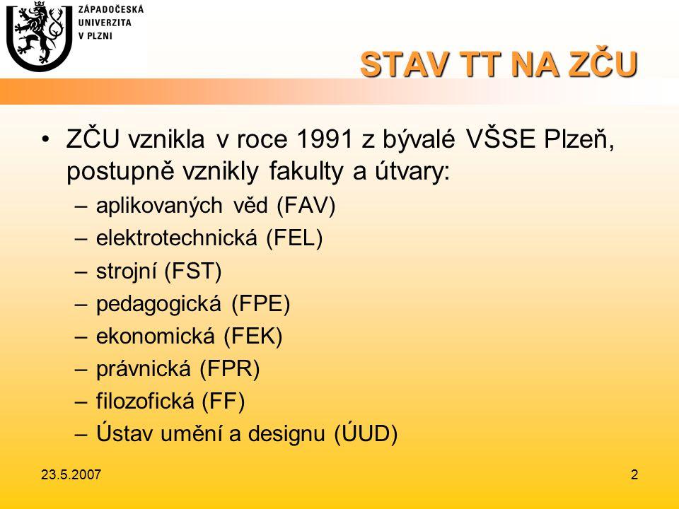 23.5.20072 STAV TT NA ZČU ZČU vznikla v roce 1991 z bývalé VŠSE Plzeň, postupně vznikly fakulty a útvary: –aplikovaných věd (FAV) –elektrotechnická (FEL) –strojní (FST) –pedagogická (FPE) –ekonomická (FEK) –právnická (FPR) –filozofická (FF) –Ústav umění a designu (ÚUD)