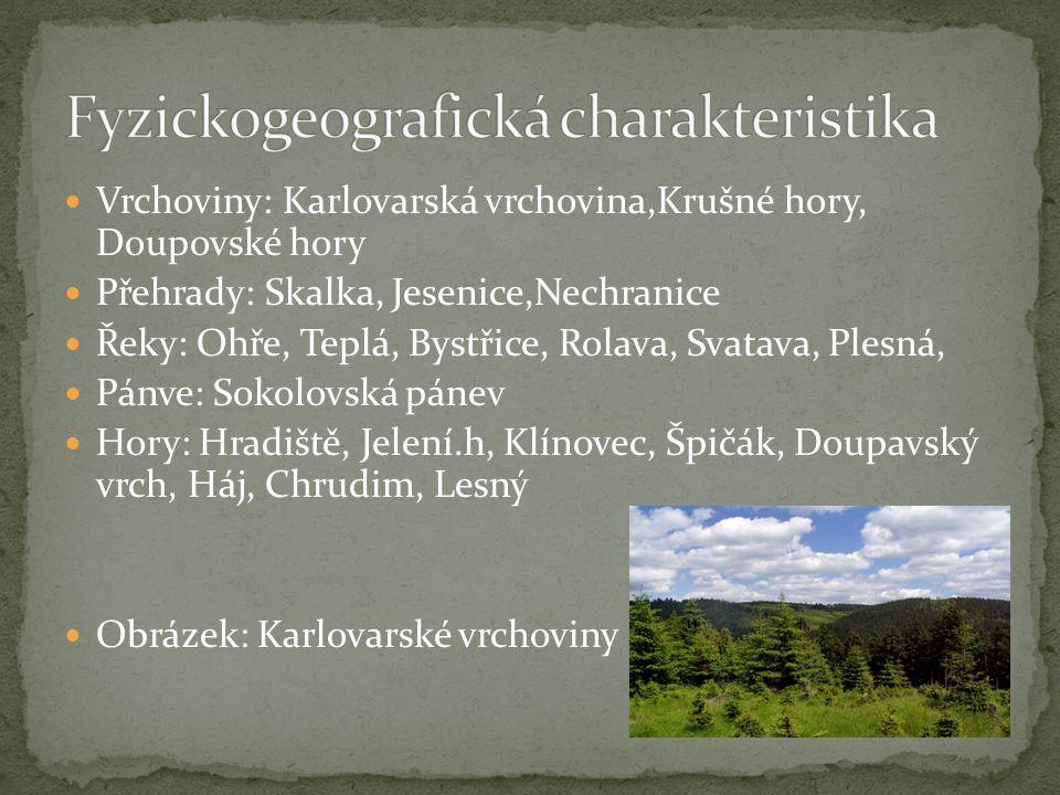 Vrchoviny: Karlovarská vrchovina,Krušné hory, Doupovské hory Přehrady: Skalka, Jesenice,Nechranice Řeky: Ohře, Teplá, Bystřice, Rolava, Svatava, Plesn