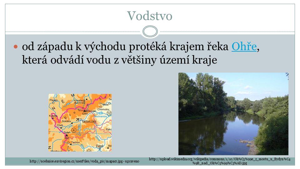 Vodstvo od západu k východu protéká krajem řeka Ohře, která odvádí vodu z většiny území krajeOhře http://upload.wikimedia.org/wikipedia/commons/1/10/O
