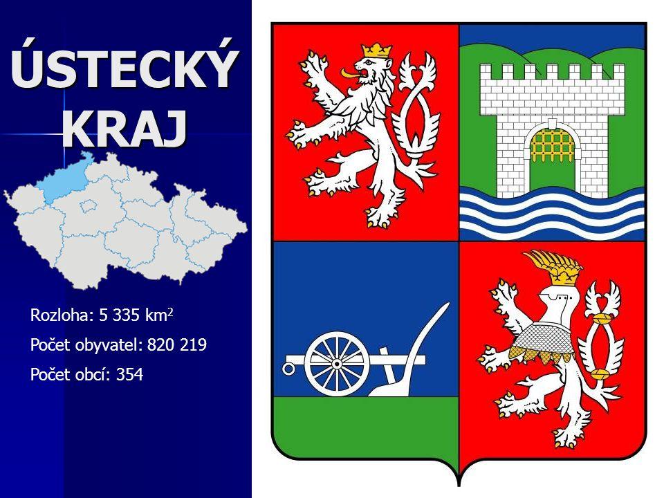 ÚSTECKÝ KRAJ Rozloha: 5 335 km 2 Počet obyvatel: 820 219 Počet obcí: 354