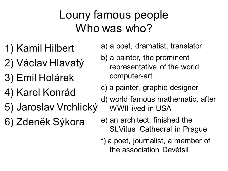 Louny famous people Who was who.