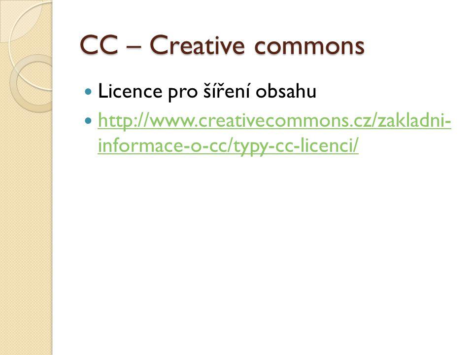 CC – Creative commons Licence pro šíření obsahu http://www.creativecommons.cz/zakladni- informace-o-cc/typy-cc-licenci/ http://www.creativecommons.cz/zakladni- informace-o-cc/typy-cc-licenci/