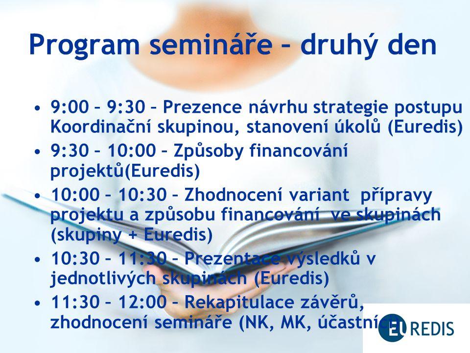 Program semináře – druhý den 9:00 – 9:30 – Prezence návrhu strategie postupu Koordinační skupinou, stanovení úkolů (Euredis) 9:30 – 10:00 – Způsoby financování projektů(Euredis) 10:00 – 10:30 – Zhodnocení variant přípravy projektu a způsobu financování ve skupinách (skupiny + Euredis) 10:30 – 11:30 – Prezentace výsledků v jednotlivých skupinách (Euredis) 11:30 – 12:00 – Rekapitulace závěrů, zhodnocení semináře (NK, MK, účastníci)