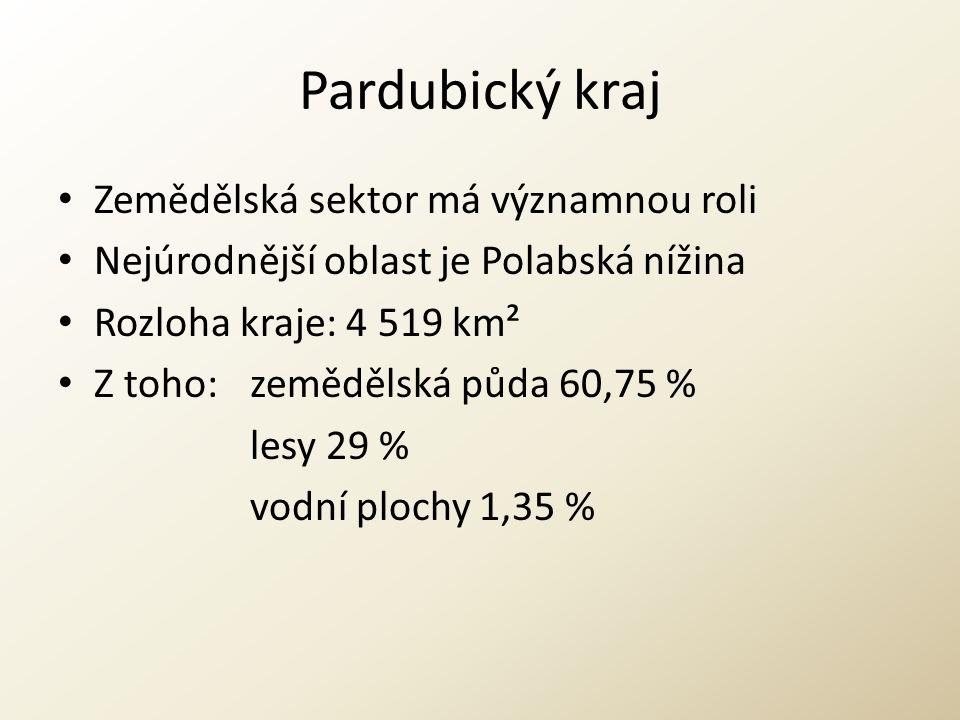Pardubický kraj Zemědělská sektor má významnou roli Nejúrodnější oblast je Polabská nížina Rozloha kraje: 4 519 km² Z toho: zemědělská půda 60,75 % le