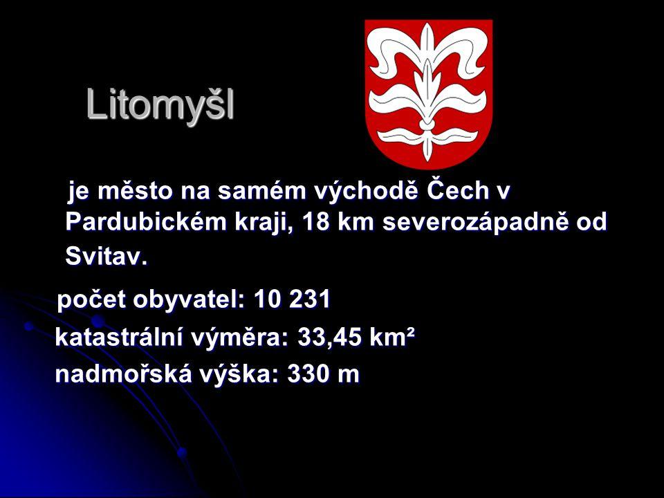 Litomyšl je město na samém východě Čech v Pardubickém kraji, 18 km severozápadně od Svitav. je město na samém východě Čech v Pardubickém kraji, 18 km
