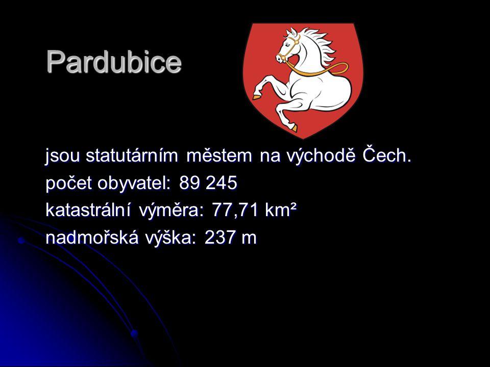 Pardubice jsou statutárním městem na východě Čech. jsou statutárním městem na východě Čech. počet obyvatel: 89 245 počet obyvatel: 89 245 katastrální