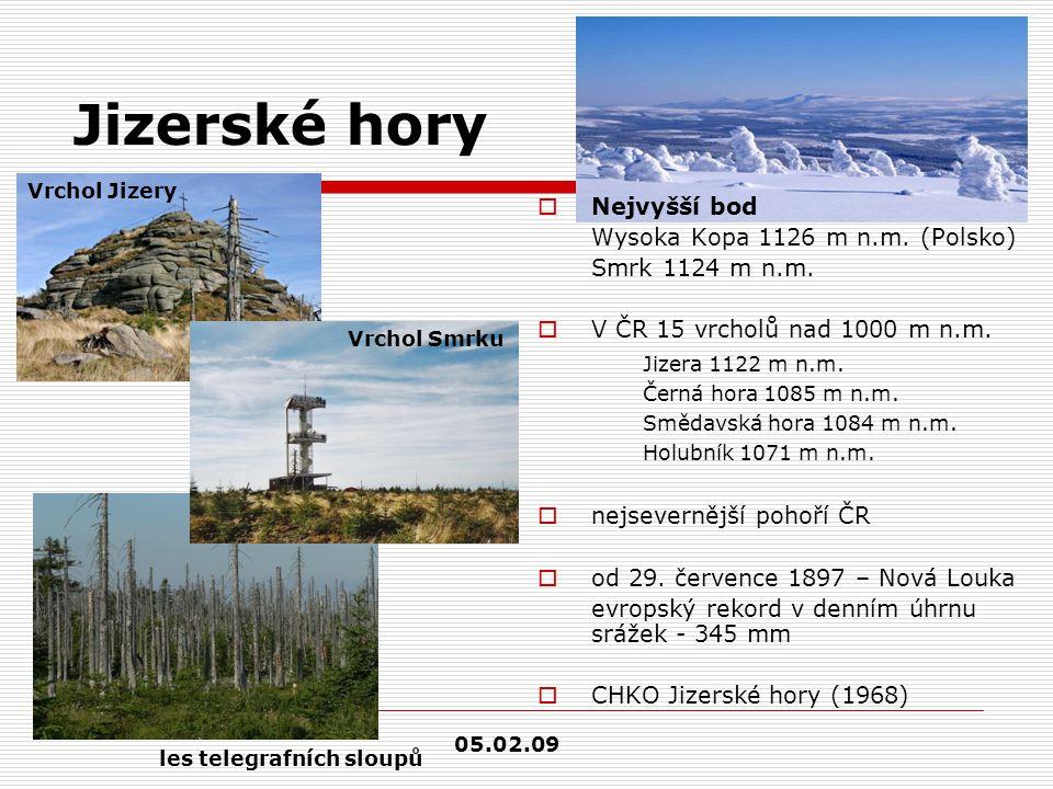 Jizerské hory  Nejvyšší bod Wysoka Kopa 1126 m n.m. (Polsko) Smrk 1124 m n.m.  V ČR 15 vrcholů nad 1000 m n.m. Jizera 1122 m n.m. Černá hora 1085 m