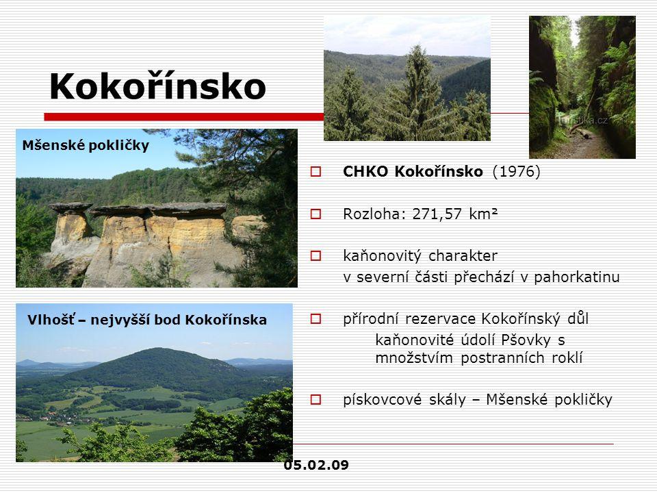 Kokořínsko  CHKO Kokořínsko (1976)  Rozloha: 271,57 km²  kaňonovitý charakter v severní části přechází v pahorkatinu  přírodní rezervace Kokořínsk