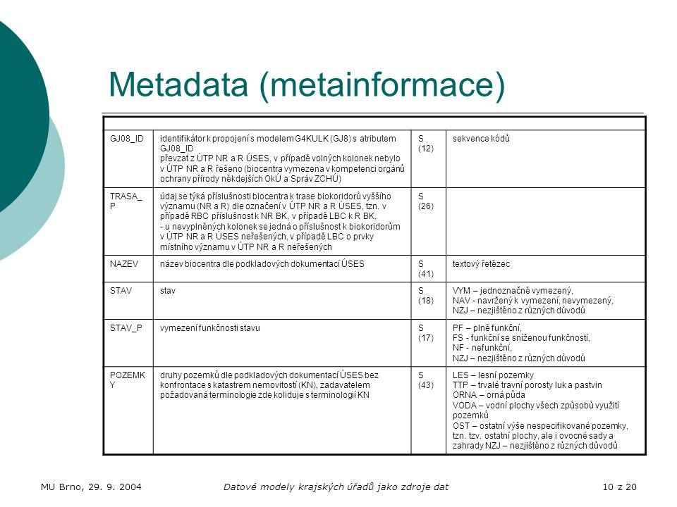 MU Brno, 29. 9. 2004Datové modely krajských úřadů jako zdroje dat10 z 20 Metadata (metainformace) GJ08_IDidentifikátor k propojení s modelem G4KULK (G