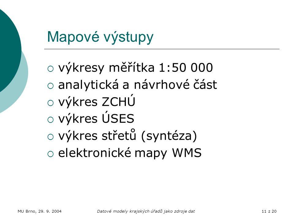 MU Brno, 29. 9. 2004Datové modely krajských úřadů jako zdroje dat11 z 20 Mapové výstupy  výkresy měřítka 1:50 000  analytická a návrhové část  výkr