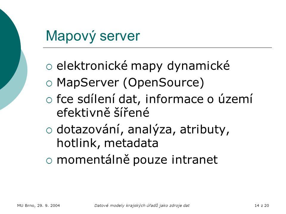 MU Brno, 29. 9. 2004Datové modely krajských úřadů jako zdroje dat14 z 20 Mapový server  elektronické mapy dynamické  MapServer (OpenSource)  fce sd