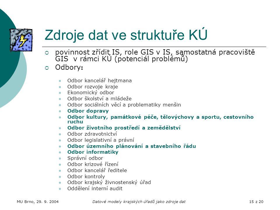 MU Brno, 29. 9. 2004Datové modely krajských úřadů jako zdroje dat15 z 20 Zdroje dat ve struktuře KÚ  povinnost zřídit IS, role GIS v IS, samostatná p