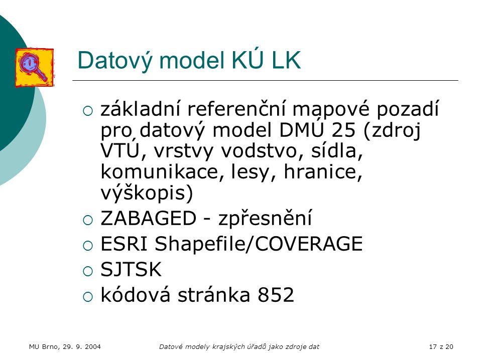 MU Brno, 29. 9. 2004Datové modely krajských úřadů jako zdroje dat17 z 20 Datový model KÚ LK  základní referenční mapové pozadí pro datový model DMÚ 2