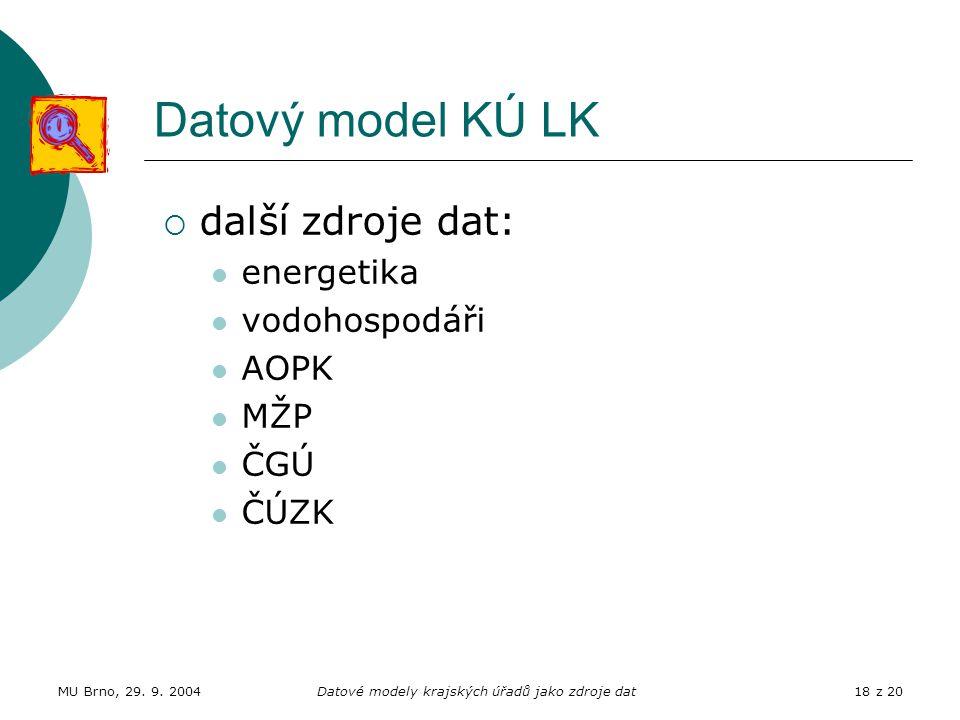 MU Brno, 29. 9. 2004Datové modely krajských úřadů jako zdroje dat18 z 20 Datový model KÚ LK  další zdroje dat: energetika vodohospodáři AOPK MŽP ČGÚ