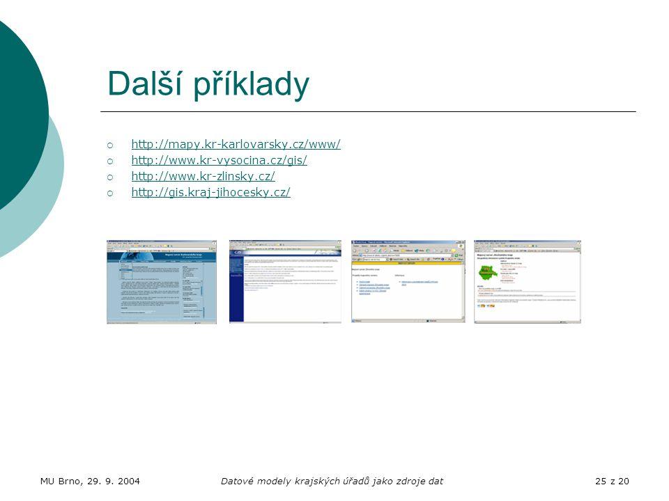 MU Brno, 29. 9. 2004Datové modely krajských úřadů jako zdroje dat25 z 20 Další příklady  http://mapy.kr-karlovarsky.cz/www/ http://mapy.kr-karlovarsk