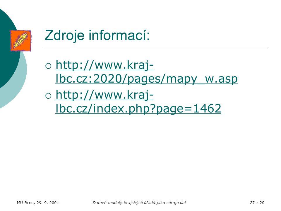 MU Brno, 29. 9. 2004Datové modely krajských úřadů jako zdroje dat27 z 20 Zdroje informací:  http://www.kraj- lbc.cz:2020/pages/mapy_w.asp http://www.