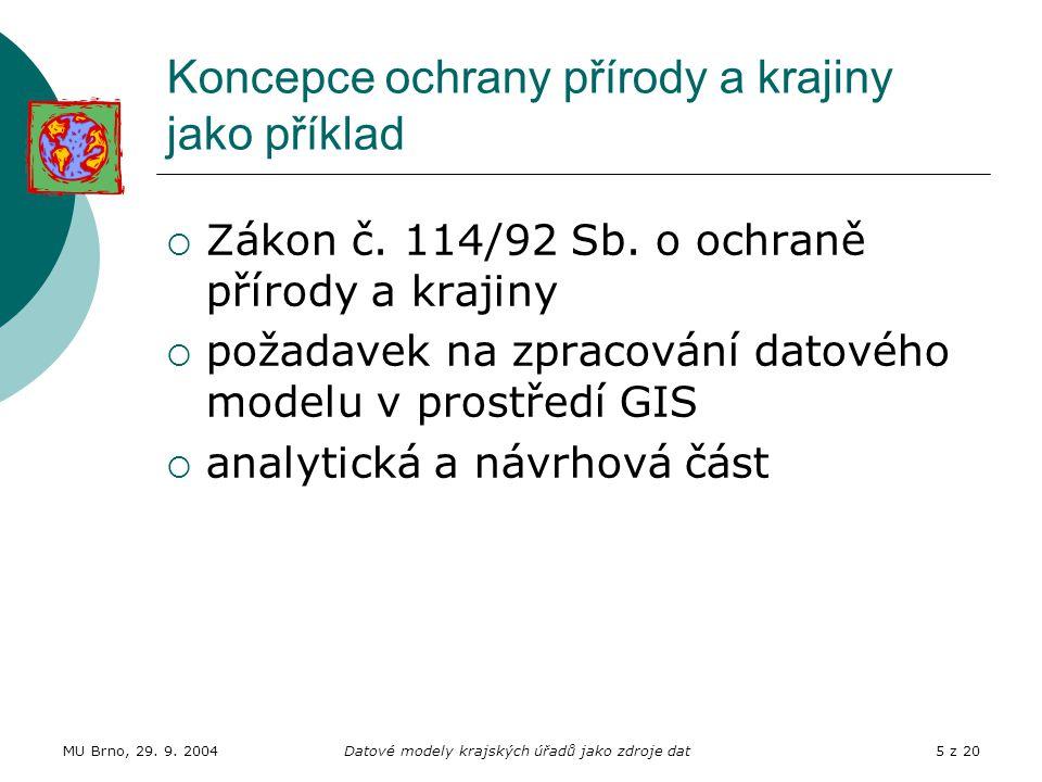 MU Brno, 29. 9. 2004Datové modely krajských úřadů jako zdroje dat5 z 20 Koncepce ochrany přírody a krajiny jako příklad  Zákon č. 114/92 Sb. o ochran