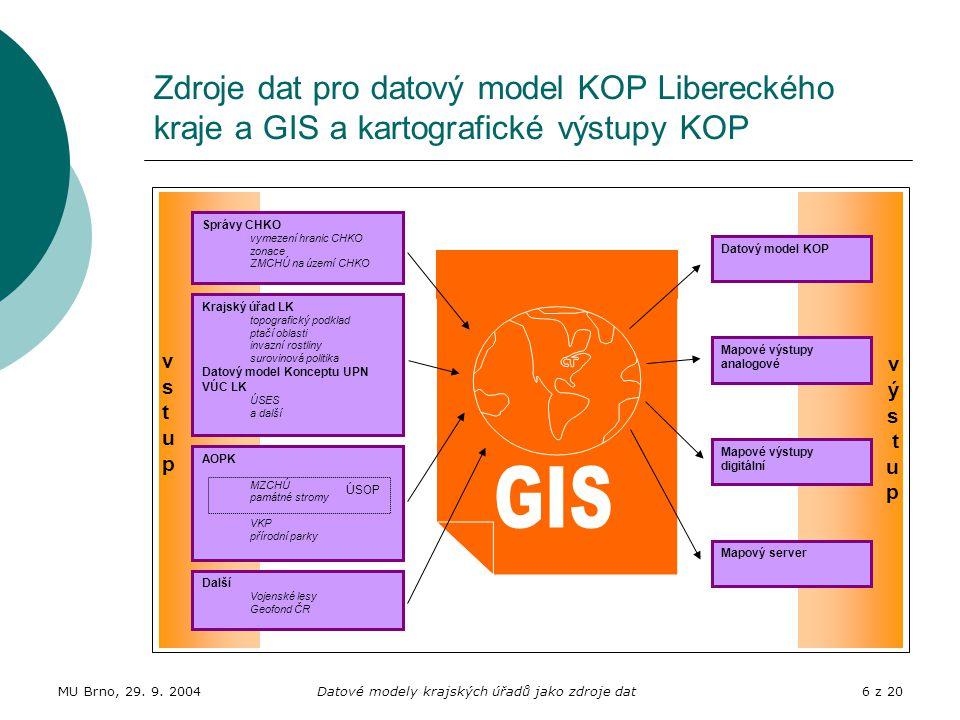 MU Brno, 29. 9. 2004Datové modely krajských úřadů jako zdroje dat6 z 20 Zdroje dat pro datový model KOP Libereckého kraje a GIS a kartografické výstup