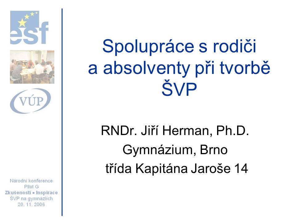 Spolupráce s rodiči a absolventy při tvorbě ŠVP RNDr.