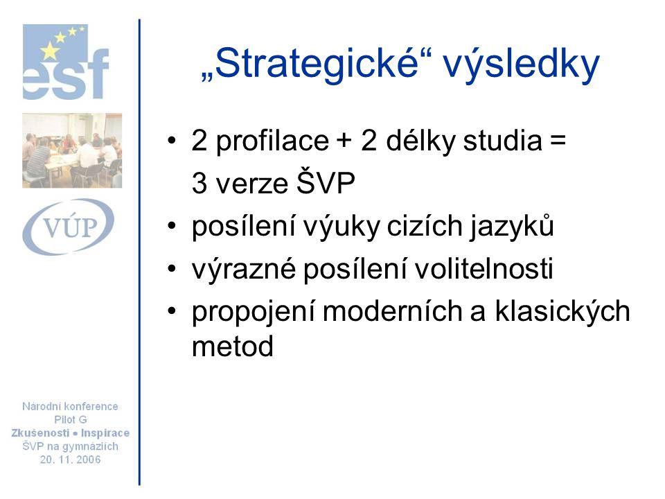 """""""Strategické"""" výsledky 2 profilace + 2 délky studia = 3 verze ŠVP posílení výuky cizích jazyků výrazné posílení volitelnosti propojení moderních a kla"""