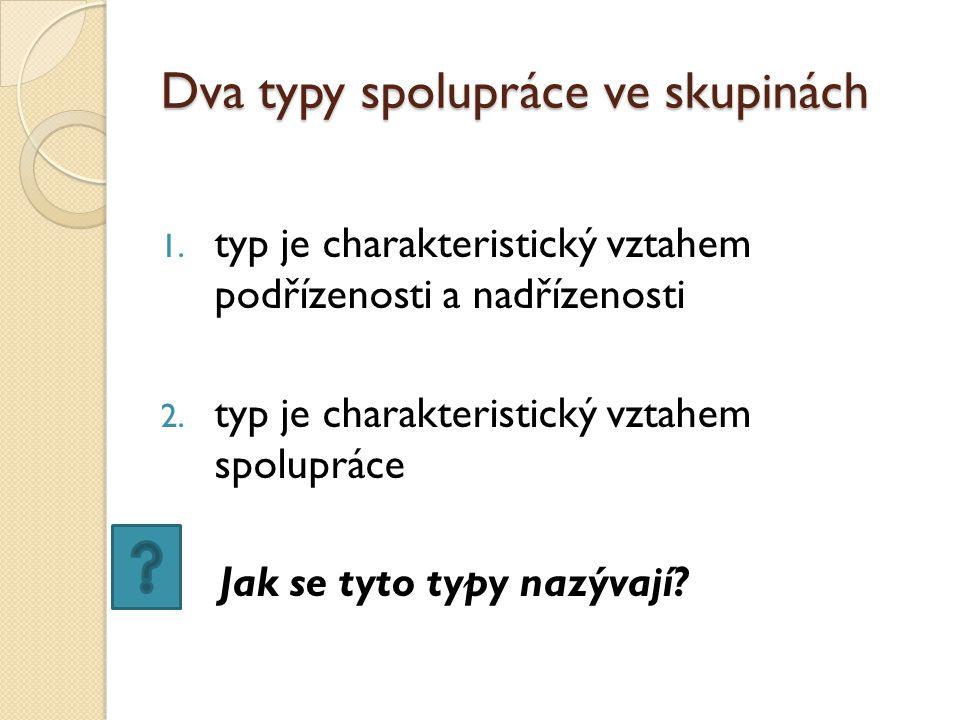 Dva typy spolupráce ve skupinách 1. typ je charakteristický vztahem podřízenosti a nadřízenosti 2.