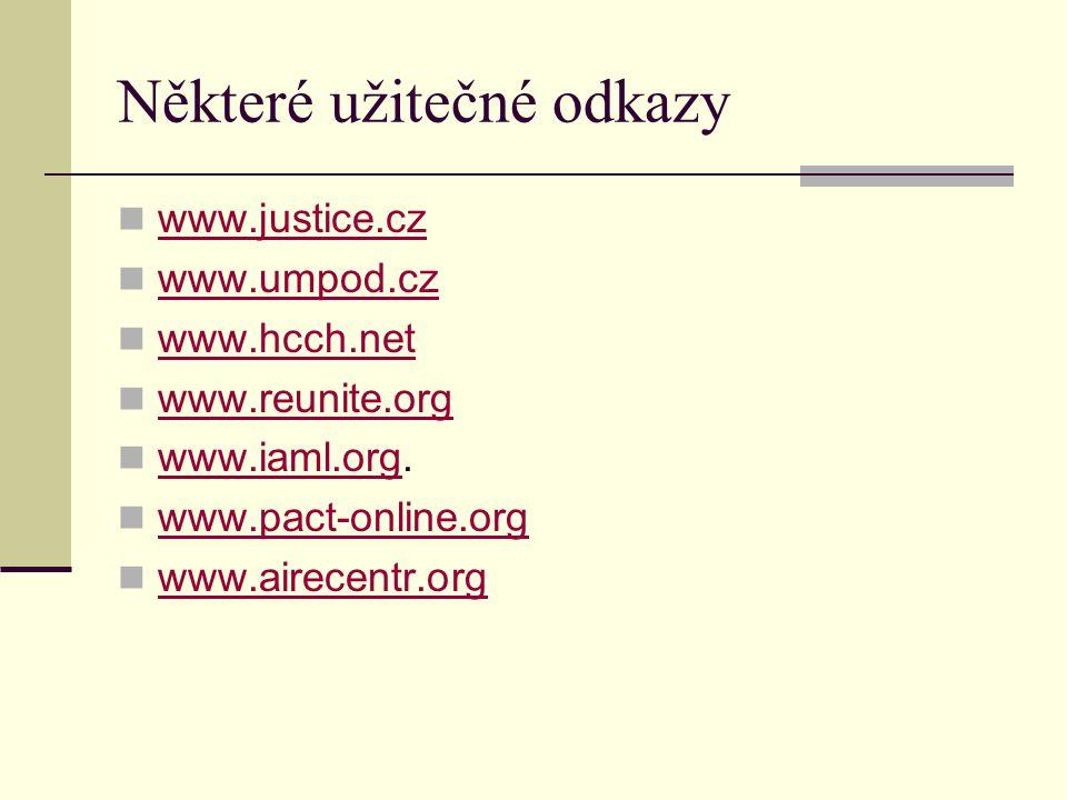 Některé užitečné odkazy www.justice.cz www.umpod.cz www.hcch.net www.reunite.org www.iaml.org. www.iaml.org www.pact-online.org www.airecentr.org