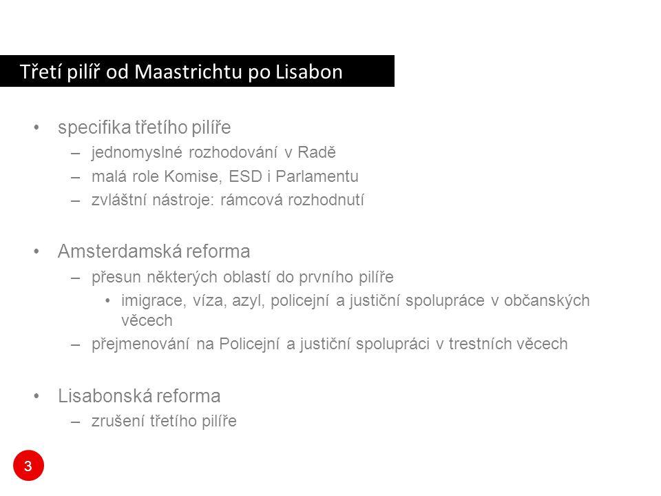 3 Třetí pilíř od Maastrichtu po Lisabon specifika třetího pilíře –jednomyslné rozhodování v Radě –malá role Komise, ESD i Parlamentu –zvláštní nástroje: rámcová rozhodnutí Amsterdamská reforma –přesun některých oblastí do prvního pilíře imigrace, víza, azyl, policejní a justiční spolupráce v občanských věcech –přejmenování na Policejní a justiční spolupráci v trestních věcech Lisabonská reforma –zrušení třetího pilíře