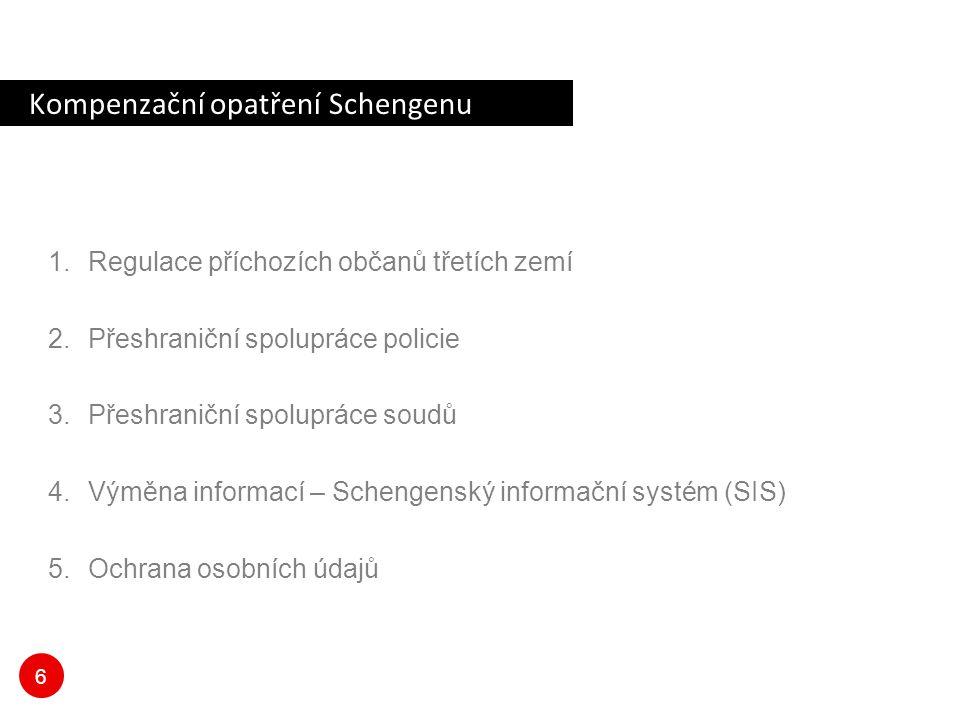 6 Kompenzační opatření Schengenu 1.Regulace příchozích občanů třetích zemí 2.Přeshraniční spolupráce policie 3.Přeshraniční spolupráce soudů 4.Výměna informací – Schengenský informační systém (SIS) 5.Ochrana osobních údajů