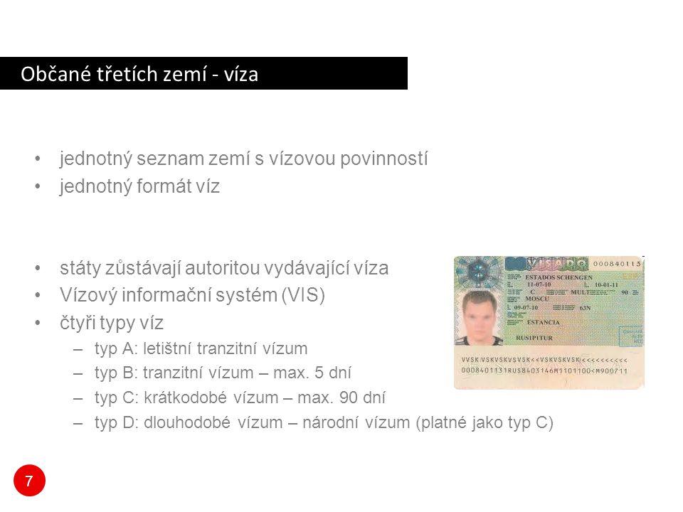 7 Občané třetích zemí - víza jednotný seznam zemí s vízovou povinností jednotný formát víz státy zůstávají autoritou vydávající víza Vízový informační systém (VIS) čtyři typy víz –typ A: letištní tranzitní vízum –typ B: tranzitní vízum – max.