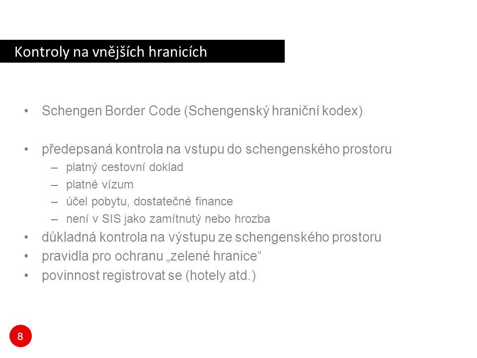 8 Kontroly na vnějších hranicích Schengen Border Code (Schengenský hraniční kodex) předepsaná kontrola na vstupu do schengenského prostoru –platný ces