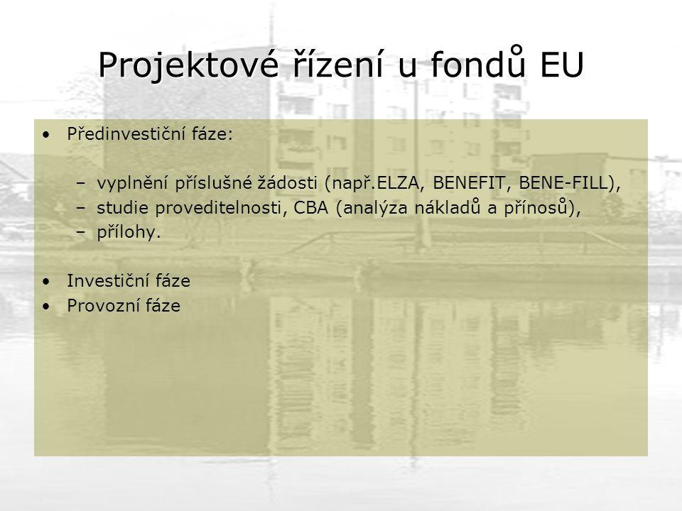 Projektové řízení u fondů EU Předinvestiční fáze: –vyplnění příslušné žádosti (např.ELZA, BENEFIT, BENE-FILL), –studie proveditelnosti, CBA (analýza nákladů a přínosů), –přílohy.